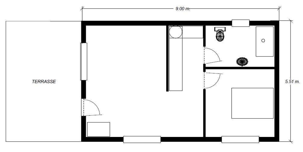 Plan tiny house moderne